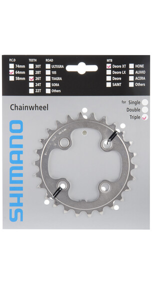 Shimano Deore XT FC-M771 kettingblad 26 tanden zilver